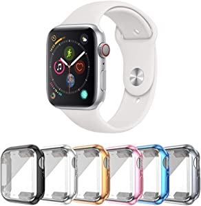 SLYEN 6 Pack Apple Watch Case with Ultra-Thin Screen Protector Compatible with iWatch 38mm,Full Coverage Case for Apple Watch Series 3 (Black+Silver+Rose Gold+Pink+Blue+Gunmetal)