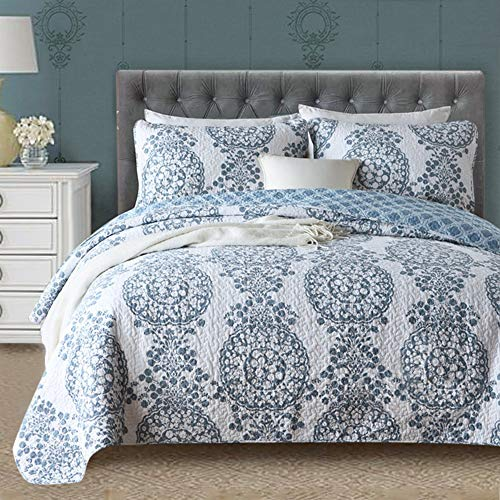 Gravan Queen Quilt Sets with Shams ❤️ 3 Piece Oversized Bedding Bedspread Coverlet Set❤️ Elegant Floral Printed