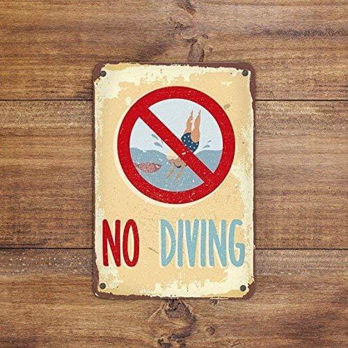 No Brand Pool Schilder, No Diving Schild, Swimming Pool Schild, Outdoor Pool Schilder, Pool Decor, Metallschild