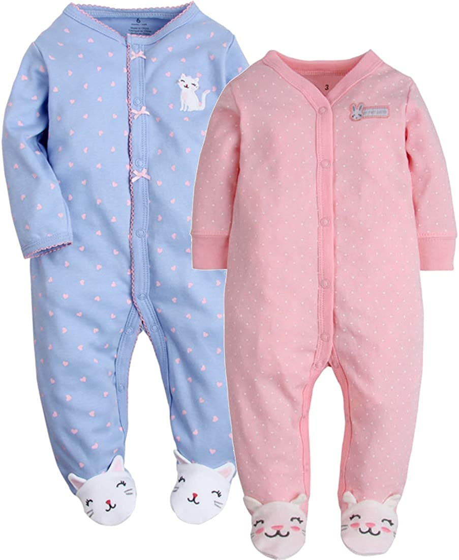 CARETOO Unisex Baby Schlafstrampler B/ärchen Baumwolle Pyjamas Cartoon Strampler