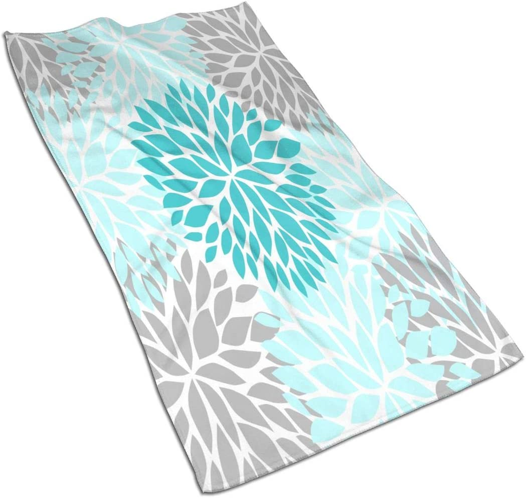 Deaowangluo Dahlia Pinnata Flower Turquoise Blue and Gray Hand Towels Soft Bath Towel Decoration Multipurpose for Bathroom, Hotel, Spa, Gym 27.5 X 15.7 Inches