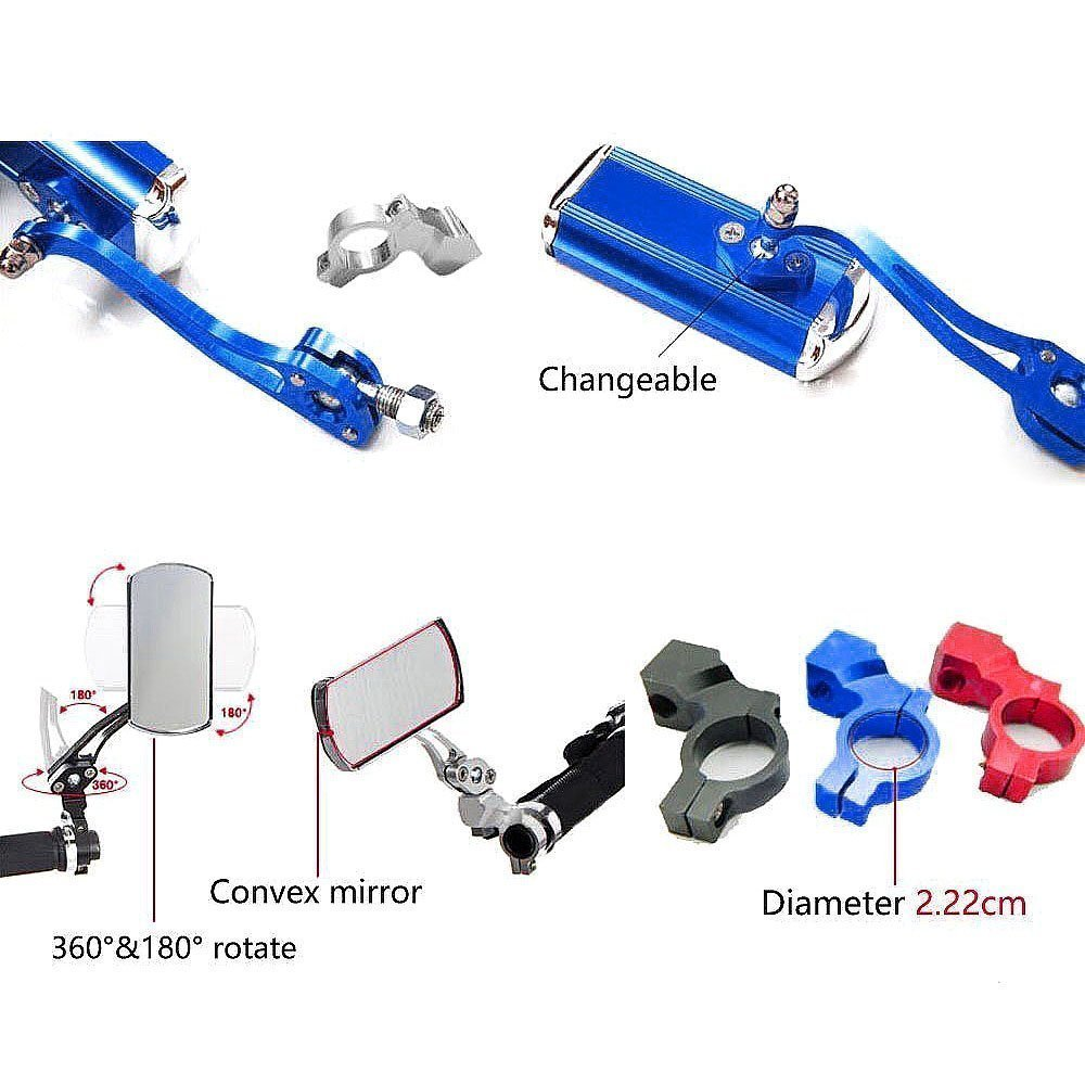 Bike Mirrors,Amadear 1 Pair Aluminium Mountain Bicycle Motor Scooter Rear View Back Mirror Wing Mirror