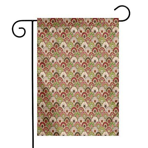 (Geometric Garden Flag Persian Arabesque Ethnic Lace Floral Traditional Folk Mandala Pattern Premium Material W12 x L18 Fern Green Ruby Rose)