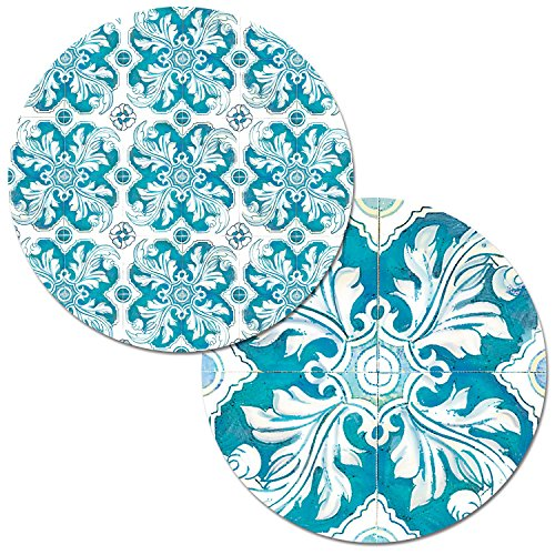 Counterart Set of 4 Round Reversible Wipe Clean Placemats Teal Mosaic (Round Placemats Teal)