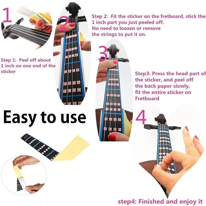 Amazon.com: Meiso Violin Finger Guide Fingerboard Sticker Fret guide Label Intonation Finger Chart Fretboard for Practice Beginners Size 4/4, 3/4,1/2,1/4 ...