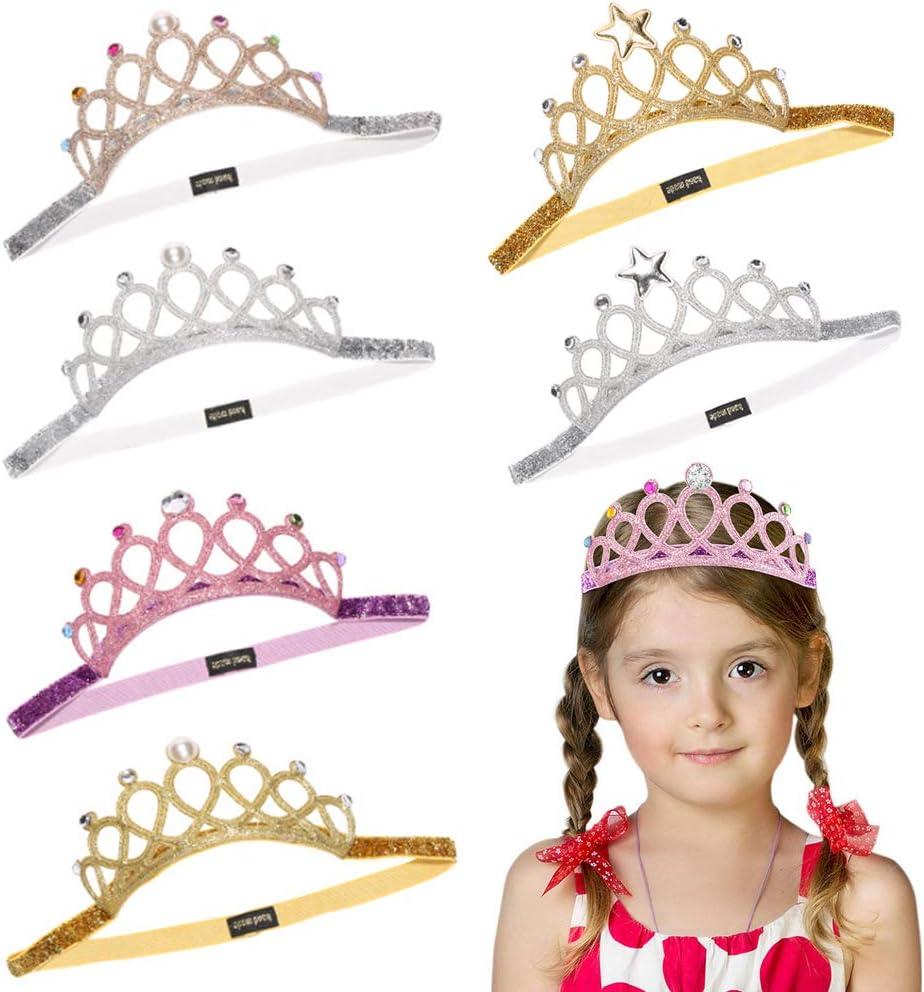 f/ür Kinder M/ädchen Madchen Krone Haarband Deer Platz 6 St/ücke Madchen Krone Prinzessin Tiara Set Elastisches Haarband Sparkling Crown Stirnband