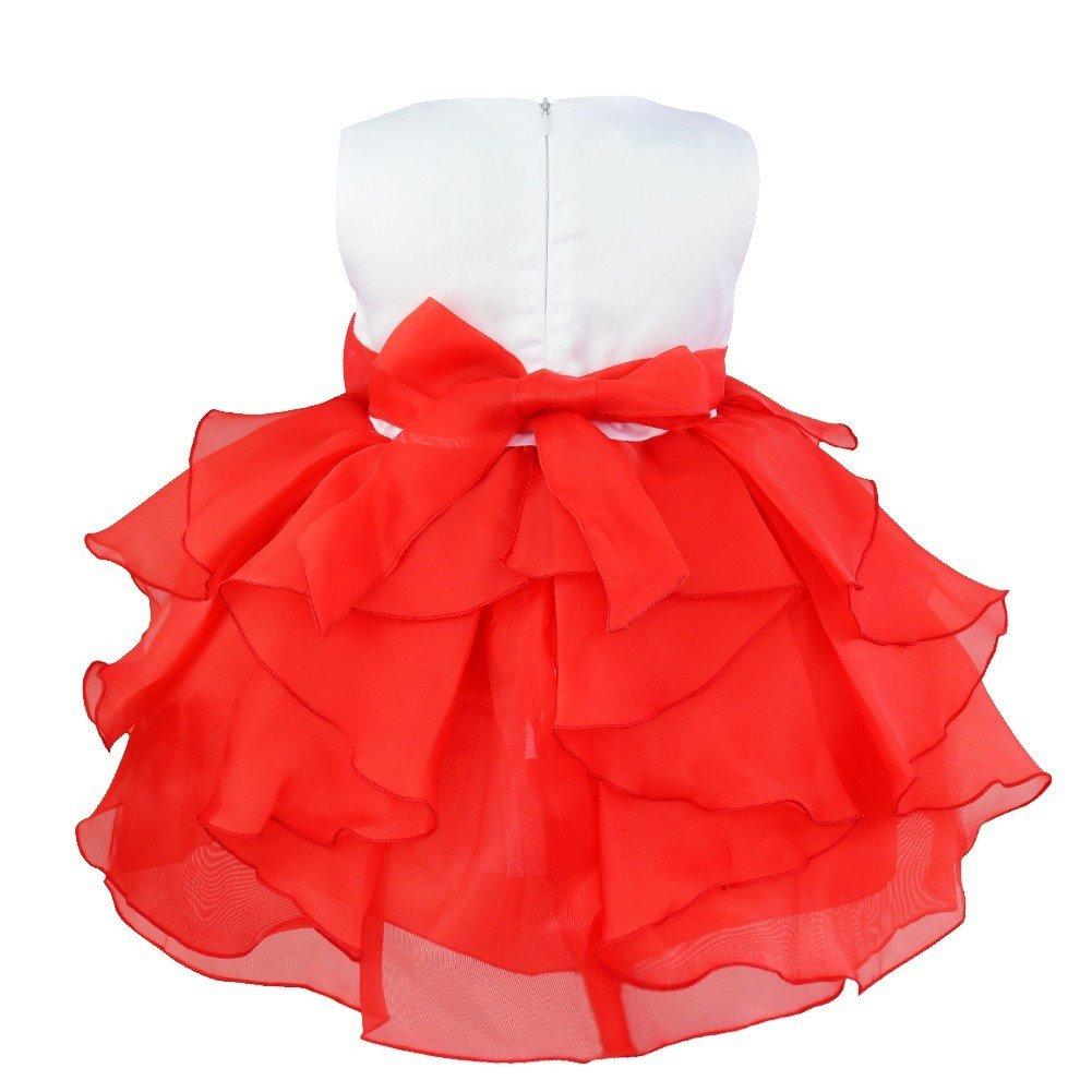 d2b98709fb412 Freebily Petite Bébé Fille Fleur Robe de Baptême Cérémonie Mariage ...