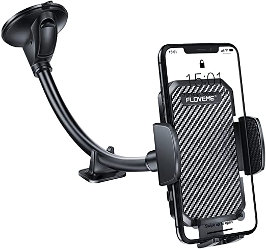 Cell Phone Holder For Car Windshield Floveme Gooseneck Long Arm Car Phone Mount Hands Free Windshield Car Phone Holder Compatible With Iphone 12 11 Pro 6 7 8 Plus X Samsung Smart Phone Stand For Car