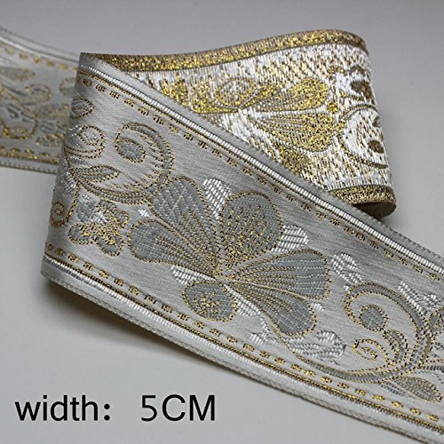 Laliva 5CM3yards/lot Embroidered Webbing Filigree Trim Laciness Chinese Style DIY Decoration National Jacquard Ribbon - (Color: 3)