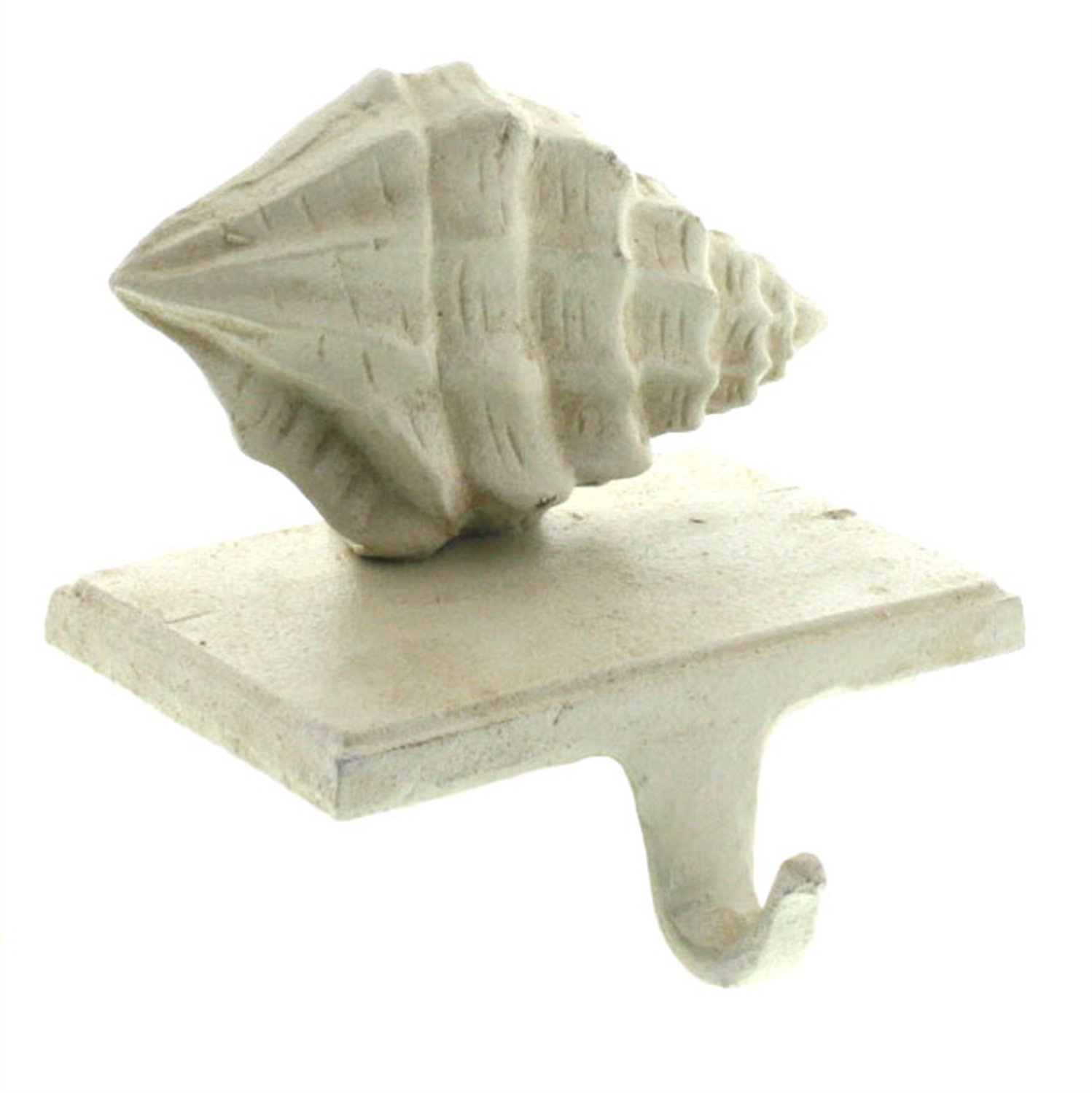 HomArt Conch Shell Stocking Holder - Cast Iron (Antique White) (Set of 12)