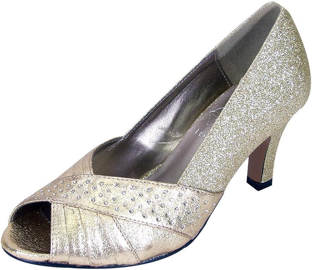 Floral Grace Women Extra Wide Width Metallic Pleated Crystals Peep Toe Dress Pump Gold 8.5