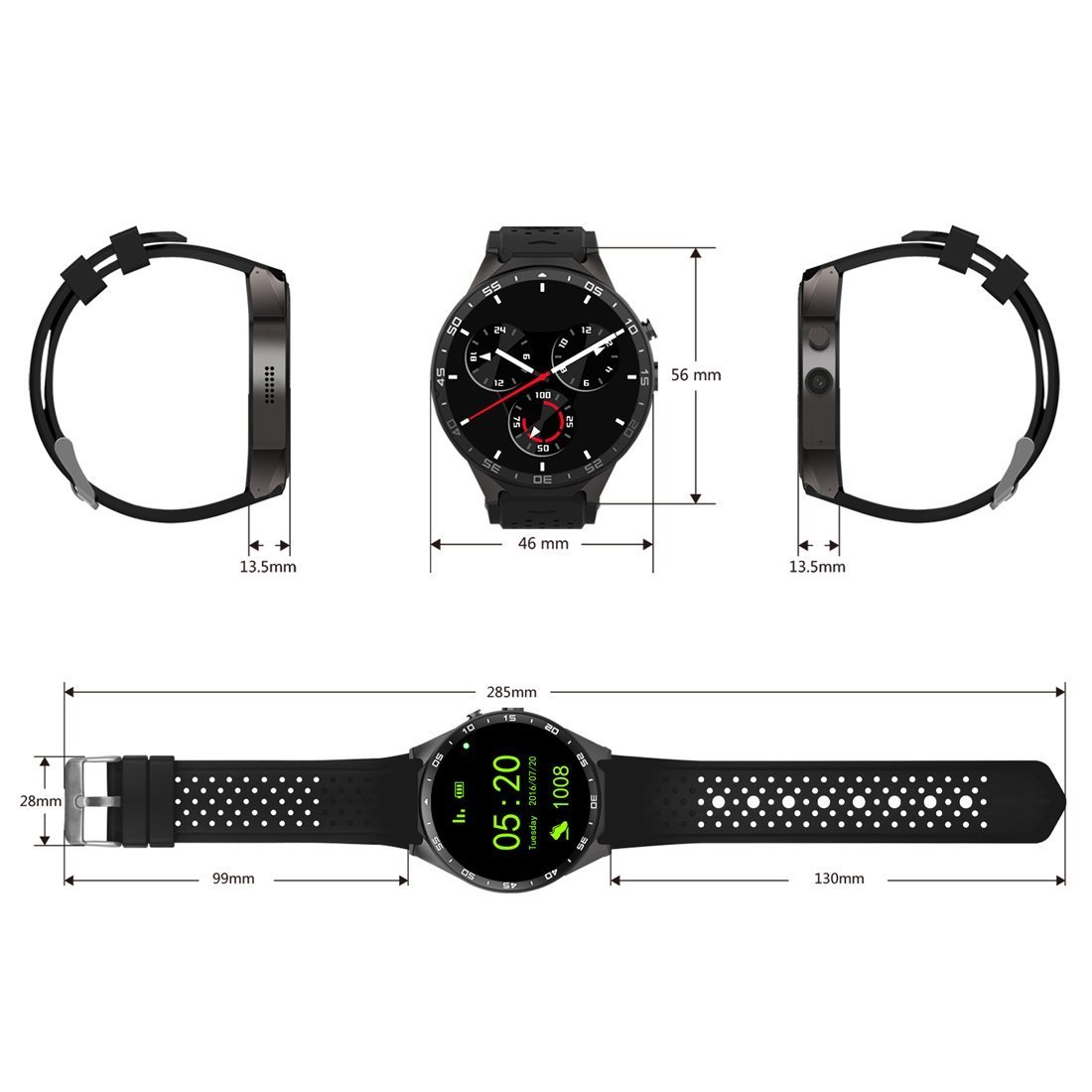 kw88 3 G WIFI Smartwatch teléfono celular todo en uno Bluetooth reloj inteligente Android 5.1 tarjeta SIM con GPS, cámara, monitor de frecuencia cardiaca, ...