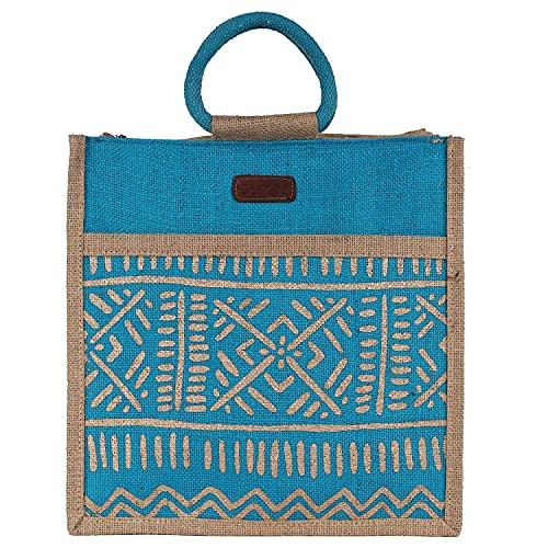 ECOTARA Elegant #34;Madhubani #34; Hand Print 100% Natural Eco friendly Jute Lunch Bag/Handbag