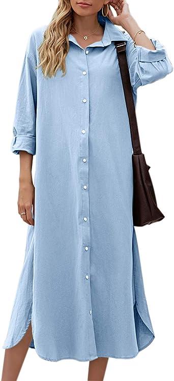 Sopliagon Mujeres Algodón Y Lino Camisa Vestido Casual Suelto Maxi Vestidos