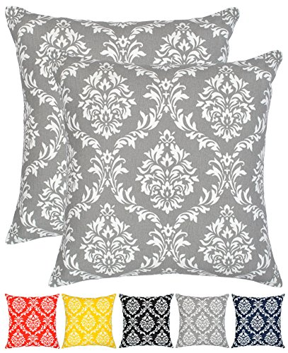 Urban Style Decor, Throw Pillow Cover (Set of 2) Cotton Printed Damask Design Decorative Cushion Covers ( 2 Pillowcases; 18 x 18 inches ; Grey & White) (Decorative Pillows Damask)