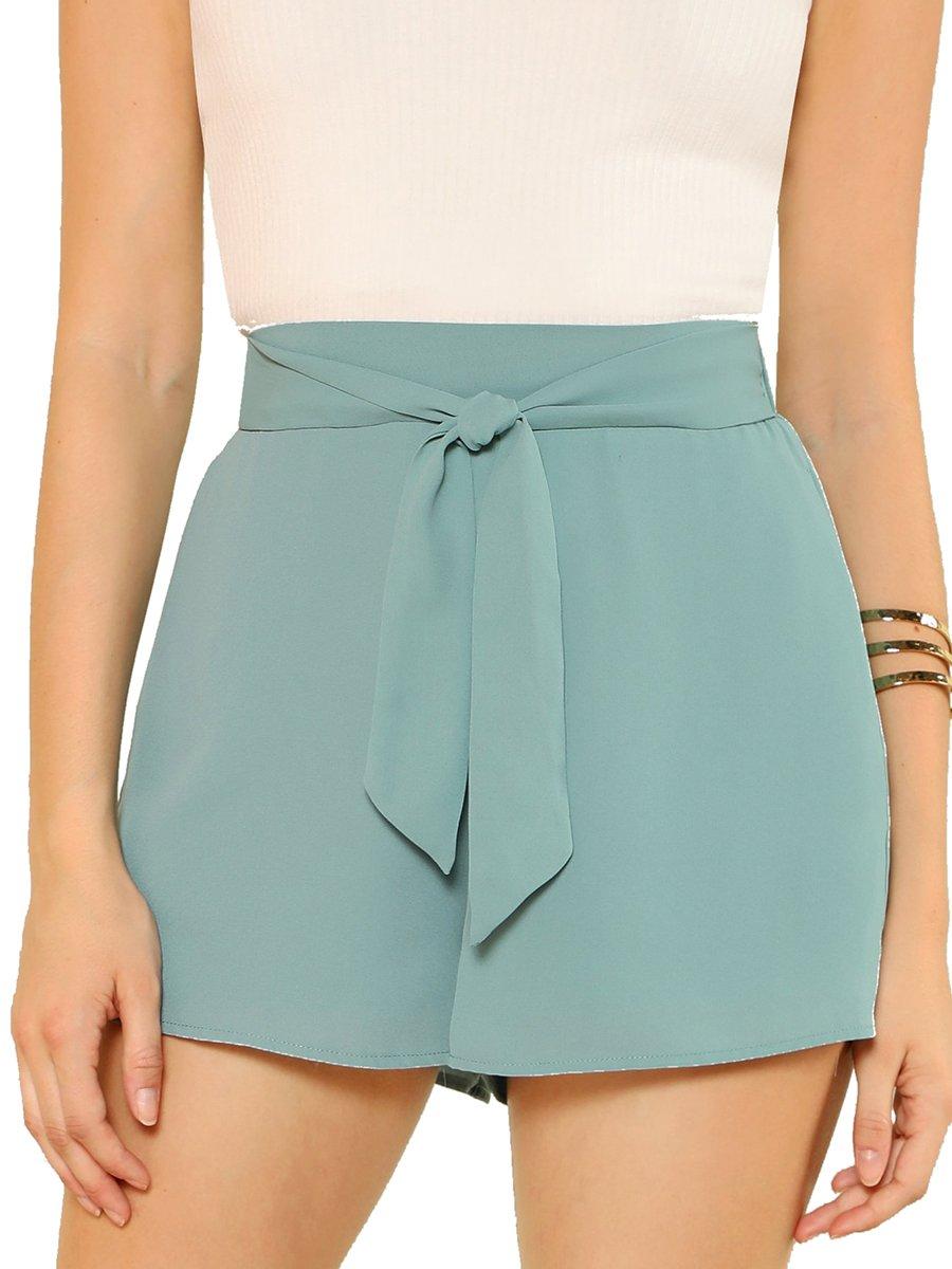 Romwe Women's Casual Tie Knot Summer Shorts Elegant Walking Shorts with Pocket Green L