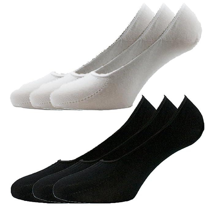 Fontana calcetines, 6 pares de calcetines invisibles higiénicos de algodón de hilo de Escocia elastizado