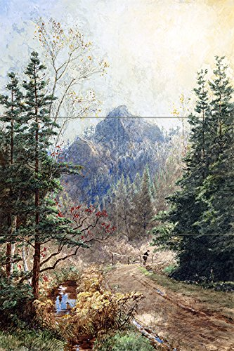 GREENWOOD NOTCH NEW JERSEY by Jasper Francis Cropsey trees pine mountain Tile Mural Kitchen Bathroom Wall Backsplash Behind Stove Range Sink Splashback 2x3 4.25