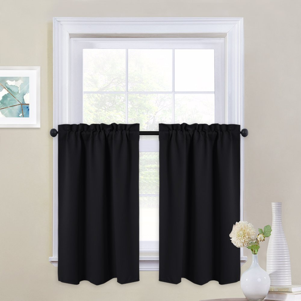 NICETOWN Black Out Valances for Kitchen - Rod Pocket Tailored Tier/Cafe Curtains for Half Window (One Pair, 29 Inches Wide x 36 Inches Long, Black)
