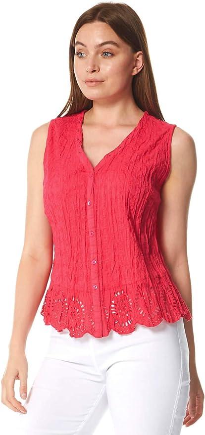 Roman Originals - Blusa sin mangas para mujer, efecto arrugado, 100% algodón, blusas largas y ligeras con cuello dentado, estilo informal para verano, ...