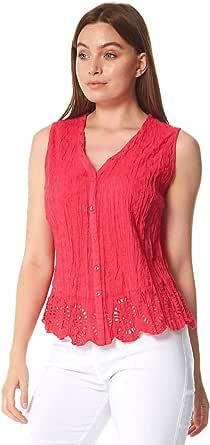 Roman Originals - Blusa sin mangas para mujer, efecto arrugado, 100% algodón, blusas largas y ligeras con cuello dentado, estilo informal para verano, vacaciones y salidas