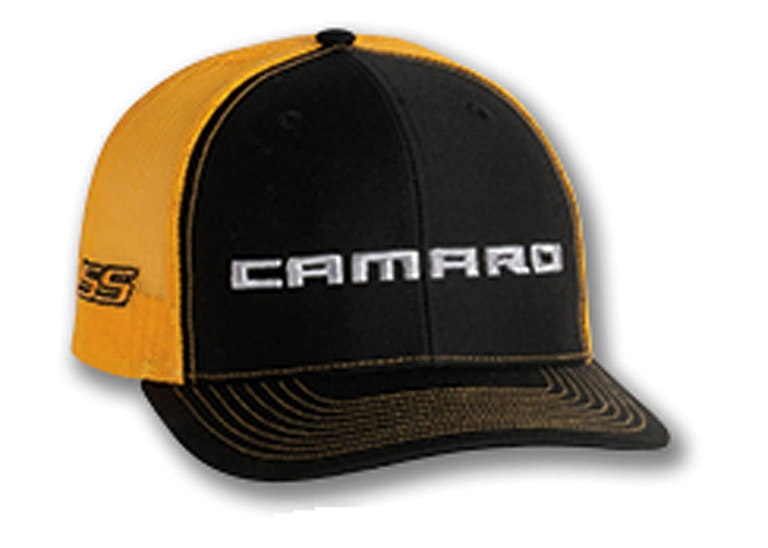 Gregs Automotive Chevrolet Chevy Camaro SS Trucker Hat Cap Yellow Bundle Includes 1 Hat and 1 Driving Style Decal