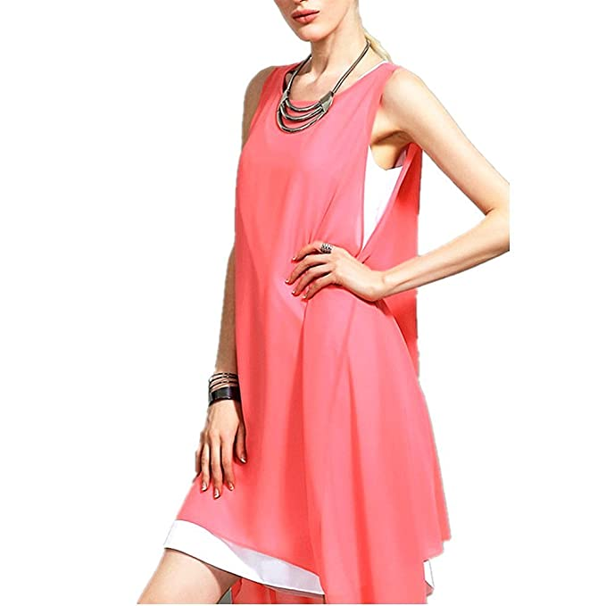 OMONSIM Womens Fashion Irregular Sleeveless Vest Shift Dress (Medium, ...