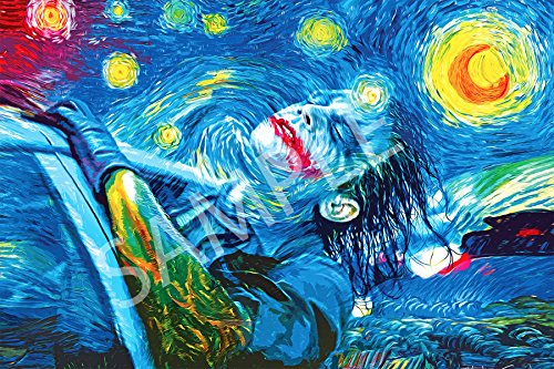 Best Print Store - Heath Ledger Inspired, The Starry Night Joker Poster (24x36 inches)]()
