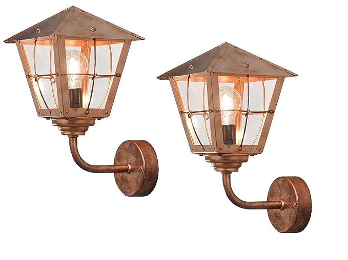 Konstsmide set di 2 lampada per esterni fenix lanterna in rame
