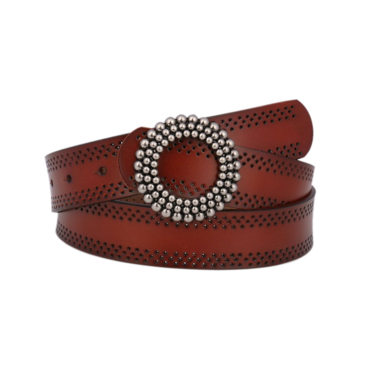 Damara Women's Wide Belt Round Flower Adorn Buckle Genuine Leather Waistband,Brown