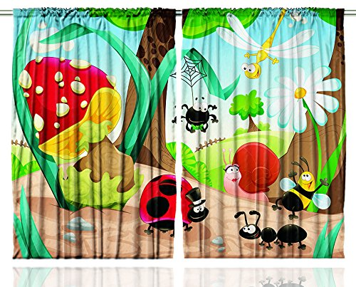 Girls Curtains Baby Shower Decor by Ambesonne, Cute Jungle Ladybug Mushroom Honey Bee Daisy Spider Net Snail Ant Dragonfly Fairy Art Playroom Nursery 108 X 63 Inch Kids Youth Room Curtain 2 Panels Set