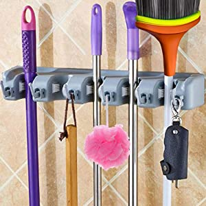 Closet Broom Holder Garden Tool Organizer for Rake or Mop Handles Storage Hooks