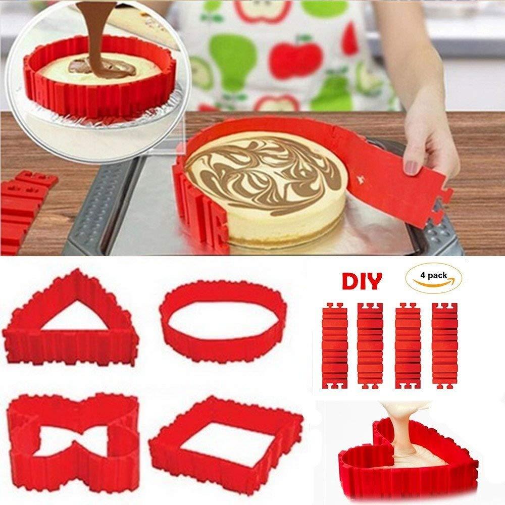 4PCS Food Grade Silicone Cake Baking Mould, Flexible Cake Making Mold Bake Snake DIY Cake Dessert Bake ware Mould Lanbao