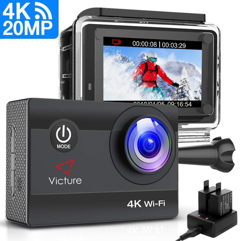 Victure Action Cam 20MP Ultra HD 4K Wi-Fi Impermeabile 40M Immersione Sott'Acqua 170° Grandangolare Camera con Caricabatteria/Kit Accessori Due 1050mAh Batterie product image