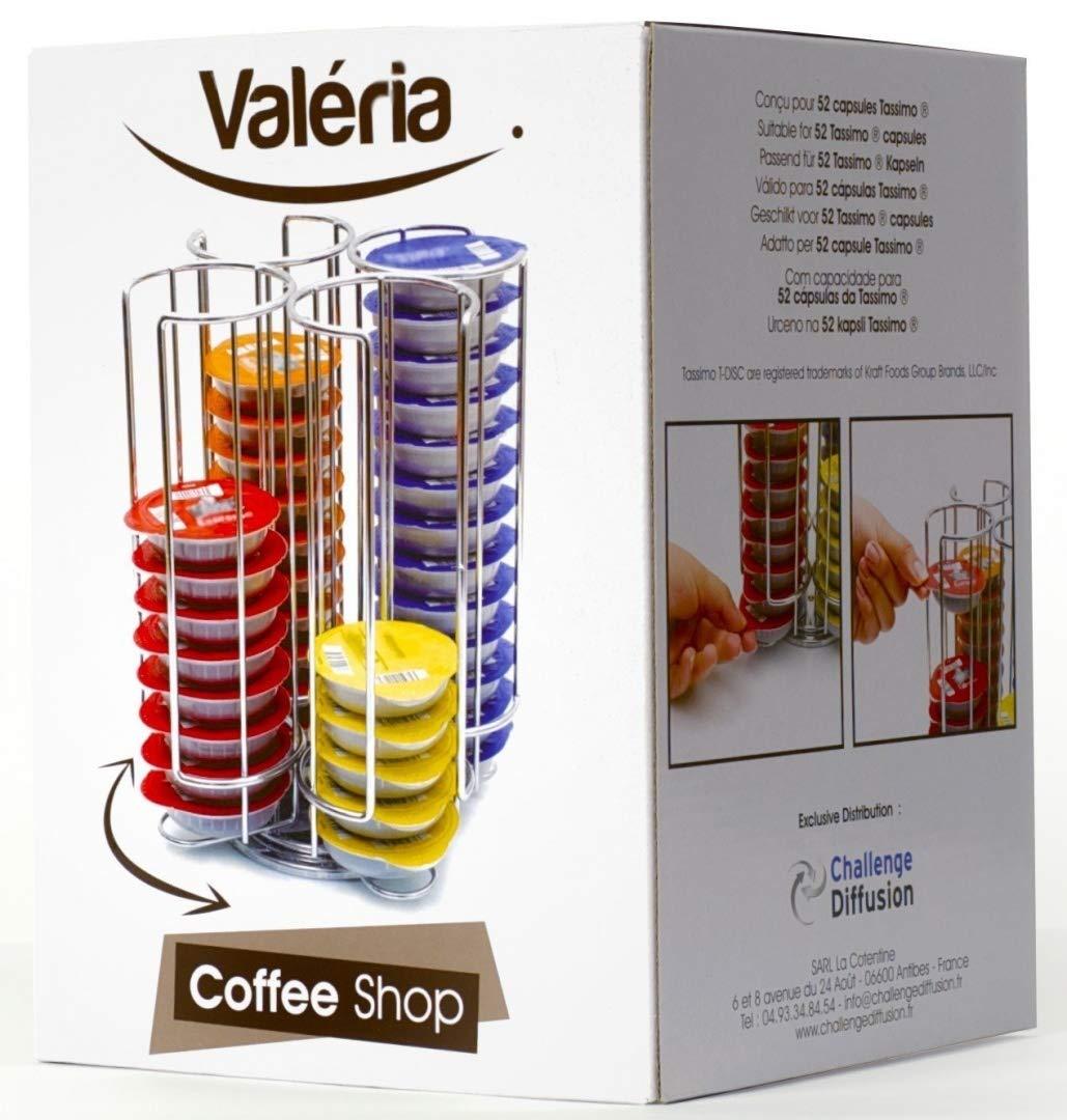 Coffee Shop - Valéria CH0012 - Portacápsulas giratorio con capacidad para 52 cápsulas Tassimo acabado cromado Distribuidor: Amazon.es: Hogar