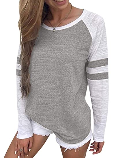 1b5c366c3da14f YOUCOO Women Tunic Blouse Long Sleeve Lace Up Tops Color Block ...