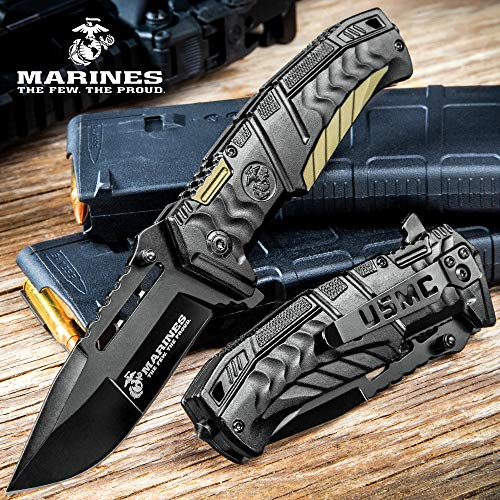 USMC Black and Tan Assisted Opening Pocket Knife
