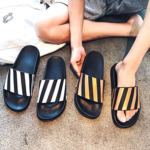 Women for Gold Slipper White with White Color Summer Stripe Sandals ALOTUS Black Slide Colorful Flat 48ndUqPA