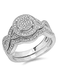 0.50 Carat (ctw) Sterling Silver Round White Diamond Womens Micro Pave Engagement Ring Set 1/2 CT