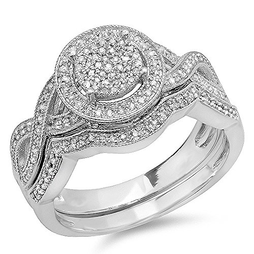 0.50 Carat (ctw) Sterling Silver White Diamond Womens Engagement Ring Set 1/2 CT (Size 8.5) by DazzlingRock Collection