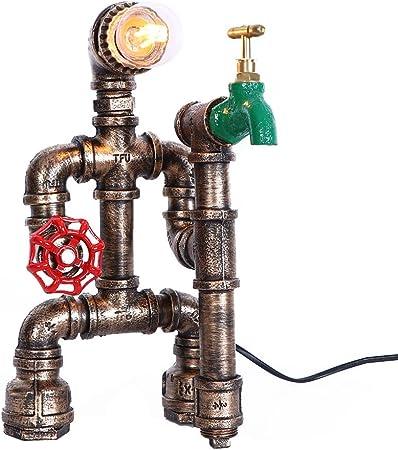 RUXMY Tubo de Hierro Industrial Retro lámpara de mostrador Robot Steampunk lámpara de Escritorio Dormitorio lámpara de decoración de Escritorio de la Sala de Estar (excluyendo la Fuente de luz): Amazon.es: Hogar