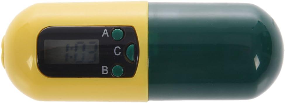 TOOGOO (R) cuidado de la salud píldora medicina caja temporizador Digital con Buzzer alarma contenedor de recordatorio amarillo + verde: Amazon.es: Salud y cuidado personal