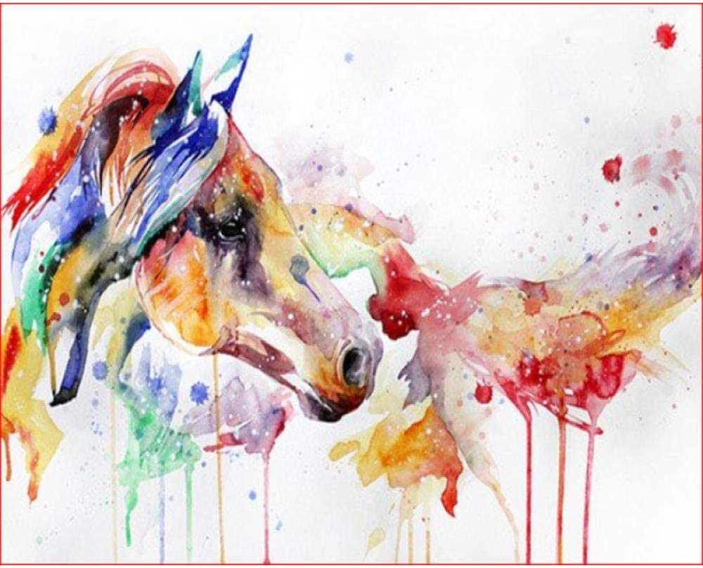 ERTOQ DIY Pintura al óleo Caballo Acuarela sobre por Numeros para Principiantes 16x20 Pulgadas (Sin Marco)
