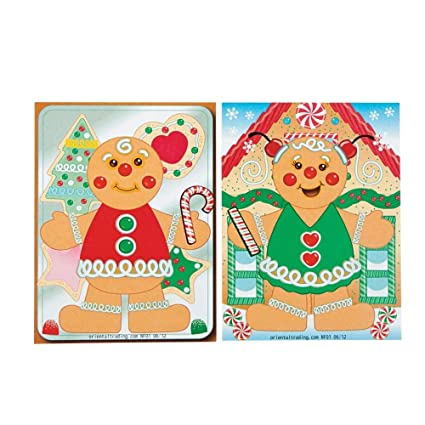 Amazon Com 12 Make A Gingerbread Boy Girl Sticker Activity Sheets