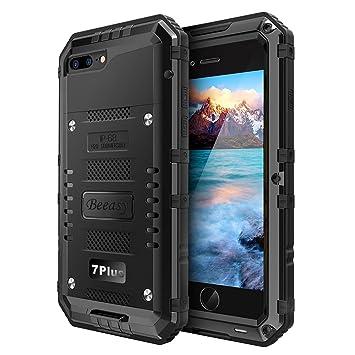 5b7548f17fc Beeasy Funda Sumergible iPhone 7 Plus/ 8 Plus, [Antigolpes]Carcasa  Impermeable Resistente Reforzada Acuática Waterproof Metálica Grado Militar  Resistente ...