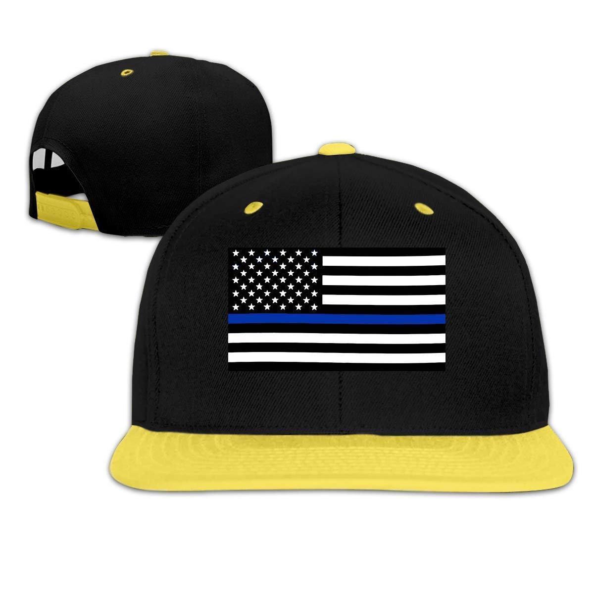 HERSTER Toddler Girls Blue Thin Line Flag Baseball Caps Trucker Flat Brim Cap