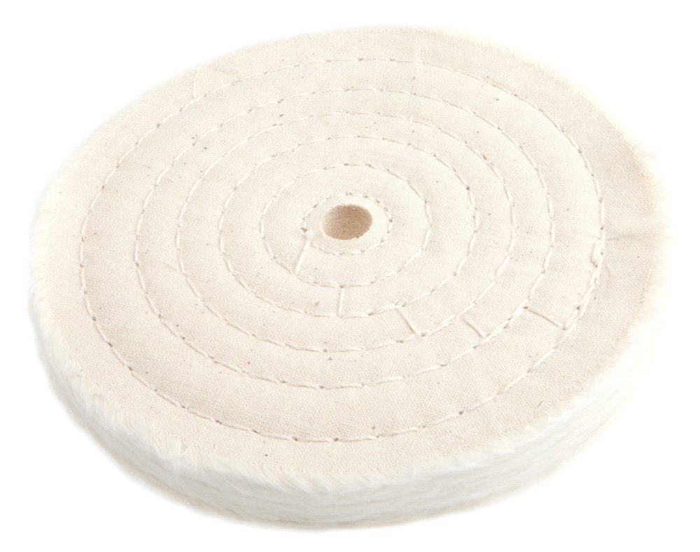 Forney 72040 Cotton Buffing Wheel, Spiral Sewn with 1/2 Arbor, 6-Inch-by-55-Ply