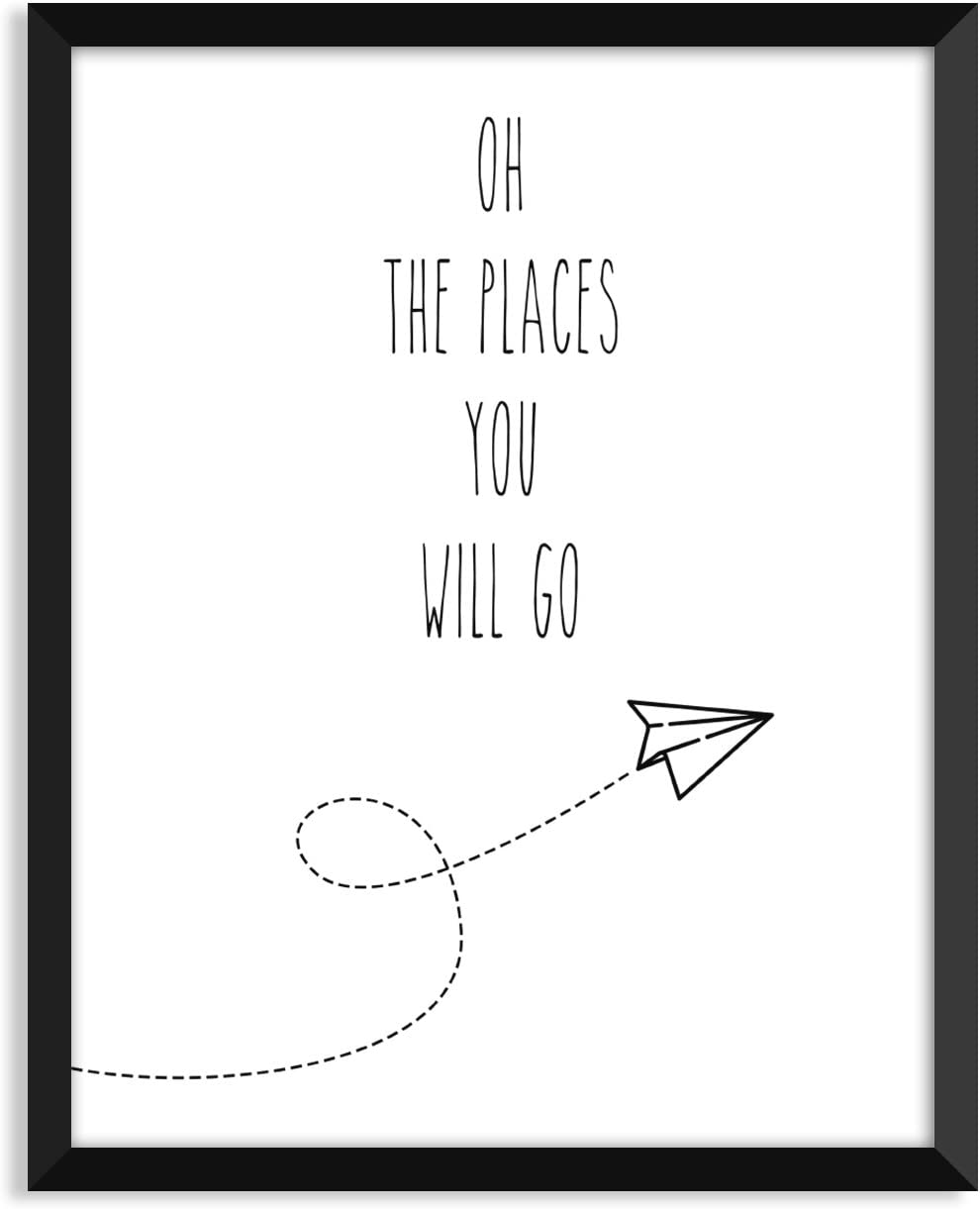 Serif Design Studios Oh The Places You Will Go - Airplane, Nursery Art Print, Minimalist Poster, Home Decor, College Dorm Room Decorations, Wall Art
