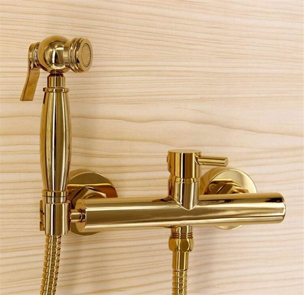 Robinet de bidet en laiton dor/é//or blanc Robinet de salle de bain mural avec robinet mural pour bidet fix/é /à 1,5 m dinstallation de tuyau hydraulique avec pas de 15cm dor/é