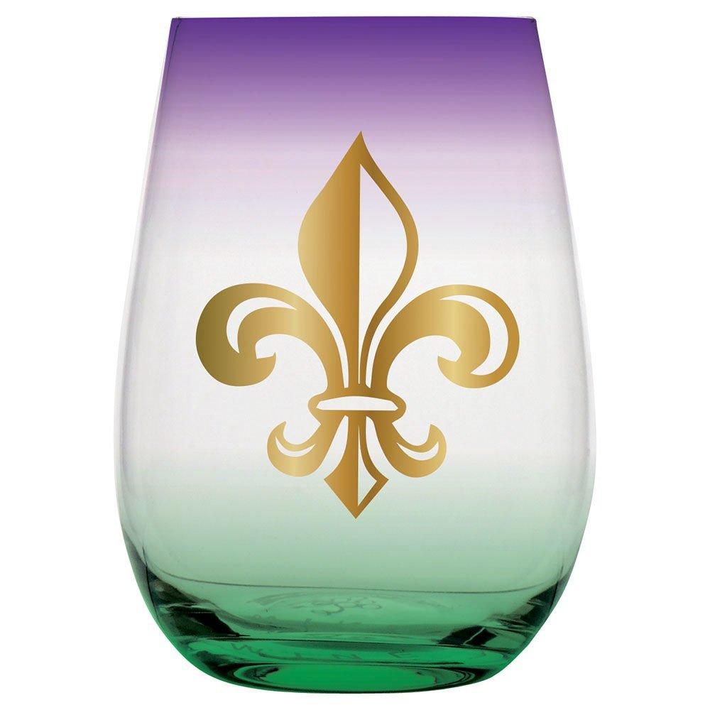 20oz Stemless Wine Glass - Fleur De Lis. Mardi Gras Colors.